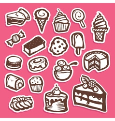 Dessert and Baking Sticker Icons vector image vector image