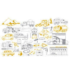 Doodle cars and auto service collection vector