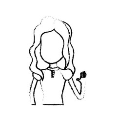 figure pretty girl with hand up and nice dress vector image vector image
