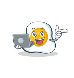 Fried egg character cartoon with laptop vector