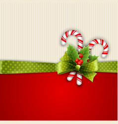 Holiday background with green ribbon and bow vector