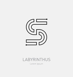 Letter S Labyrinth logo template Line art rebus vector image