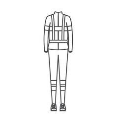 Monochrome silhouette of female uniform of vector