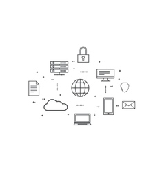 Network cloud computing vector image vector image
