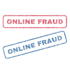 Online fraud textile stamps vector