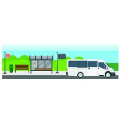 Passenger public bus stop transport flat vector
