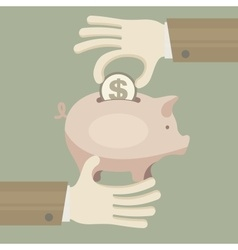 Piggy coin bank in hand vector image