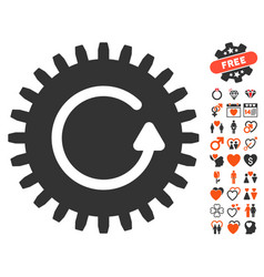rotate cog icon with lovely bonus vector image vector image