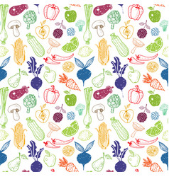 seamless background with doodle vegetables and vector image vector image