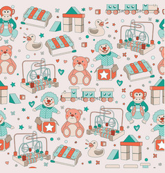 Seamless pattern vintage toys children play vector