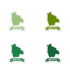 Set of paper stickers on white background maps of vector image vector image