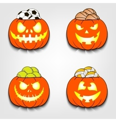Set the balls in a pumpkin vector image