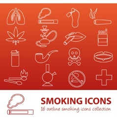 Smoking outline icons vector