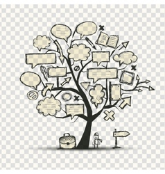 Tree with frames transparent background vector image