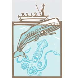 Whaling with Squid vector image vector image