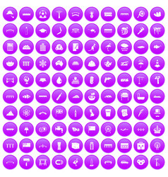 100 bridge icons set purple vector