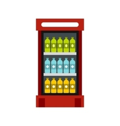 Fridge with drinks icon flat style vector