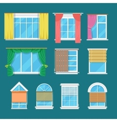 Flat window with curtains drapery shades vector