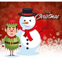 Card merry christmas snowman with elf and vector