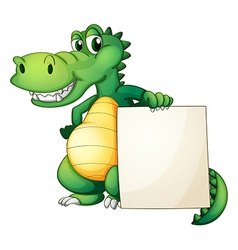 A crocodile holding an empty board vector