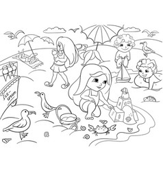 Children swimming at the beach and play with toys vector