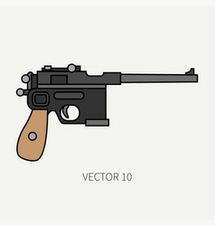 Line flat color military icon handgun vector