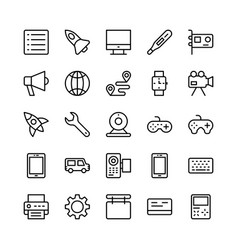 science and technology line icons 2 vector image
