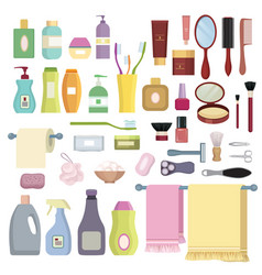 Beauty care related object set hygiene symbols vector