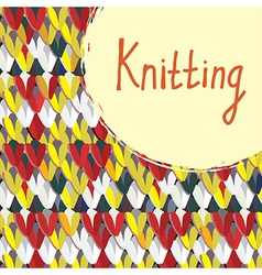Knitting background with frame hand drawn vector