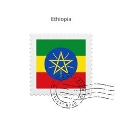 Ethiopia flag postage stamp vector