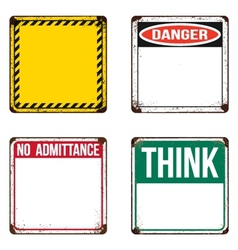 Safety signs on rusty metal placards vector