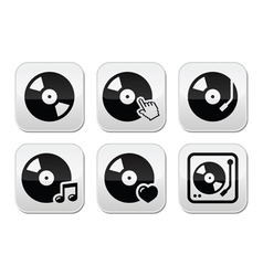 Vinyl record dj buttons set vector