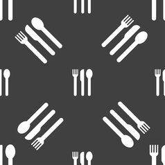 Fork knife spoon icon sign seamless pattern on a vector