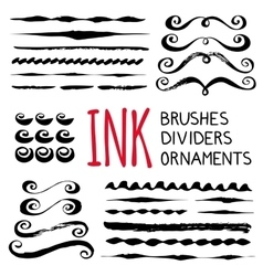Ink brushes  dividers and ornaments vector