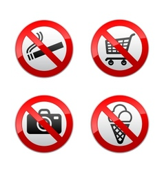 Set prohibited signs - supermarket symbols vector