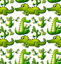 Seamless crocodile doing activities vector