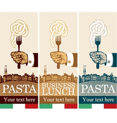 pasta on fork vector image