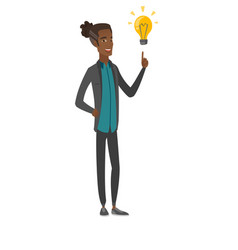 African businessman pointing at idea lightbulb vector