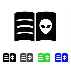 Alien face book flat icon vector