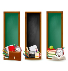 Back to school Three banners with school supplies vector image vector image