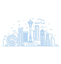 banner of seattle city in flat line trendy style vector image