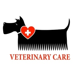 Black dog with veterinary care sign vector
