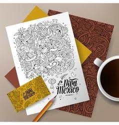 Cartoon doodles latin america corporate identity vector