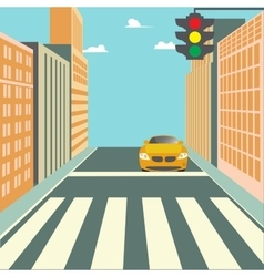 City Street with Buildings Traffic Light and Car vector image