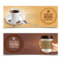 coffee horizontal banners set vector image vector image