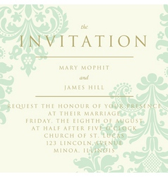 Damask invitation card vector