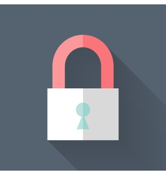 Flat closed padlock icon over blue vector