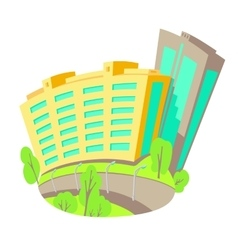 Flat of buildings in the city vector