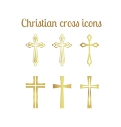 Golden christian cross icons vector