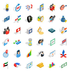Good strategy icons set isometric style vector